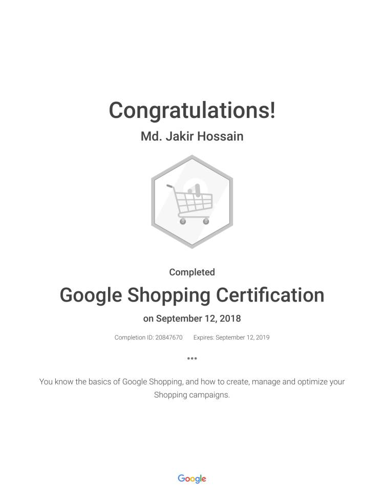 Jakir Google Shopping Certification