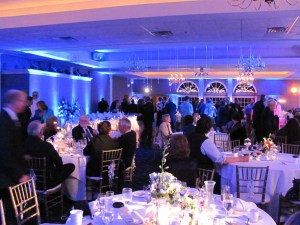 Blue uplights at an Indiana wedding