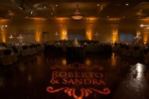 Indiana wedding lighting with custom gobo