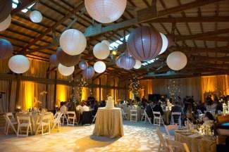 Lanterns, drape and lighting for a wedding