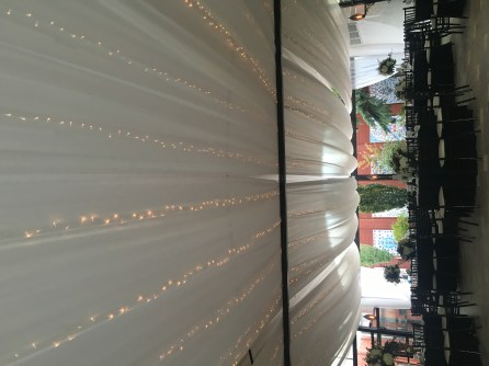 Ceiling Drape and Twinkle Lights at Galleria Marchetti Pergola