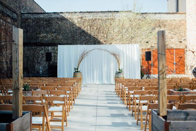 Ceremony Backdrop at City Winery Wedding Photo by Tim Tab Studios 2