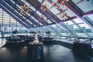 Sputnik Chandelier at an Adler Planetarium Wedding