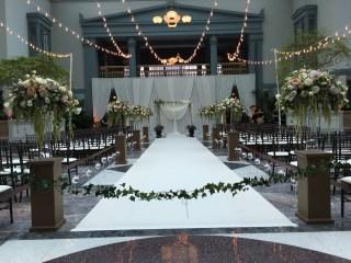 String Lights and a Backdrop for a Wedding at Harold Washington Library