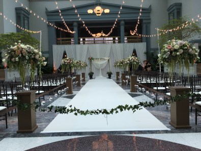 String Lights and a Backdrop for a Wedding at Harold Washington Library
