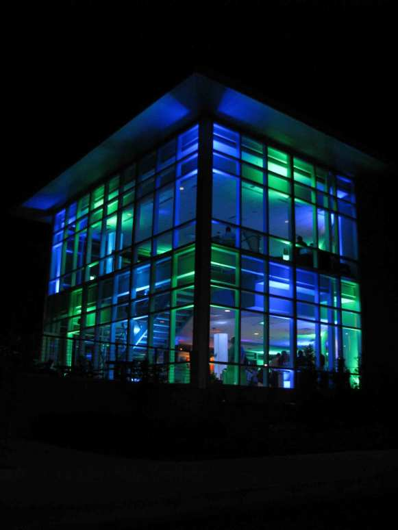 Event Lighting at Lewis University Science Building - Outside at Night
