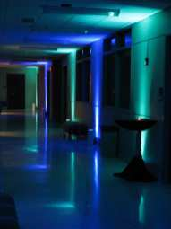 Event Lighting at Lewis University Science Building - Hallway