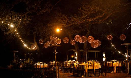 Grapevine balls at an outdoors wedding