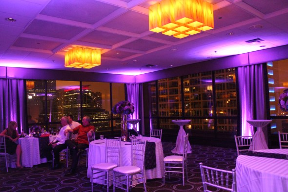 Purple up lights at Hilton Inn Mart Plaza Wedding