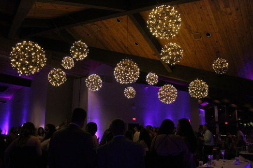 Hanging grapevine balls at a wedding in Chicago