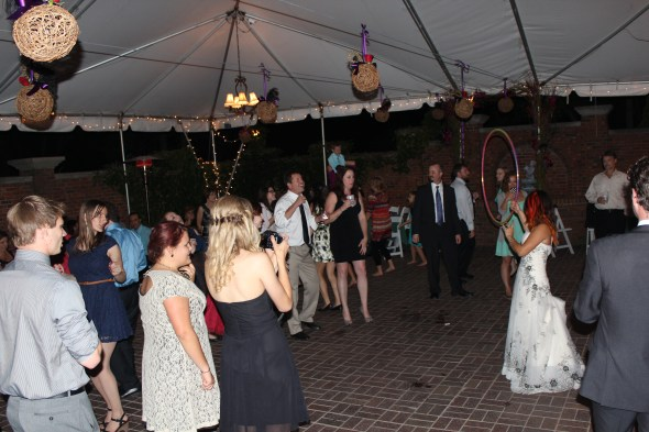 Hula hooping at Season's of Long Grove Wedding