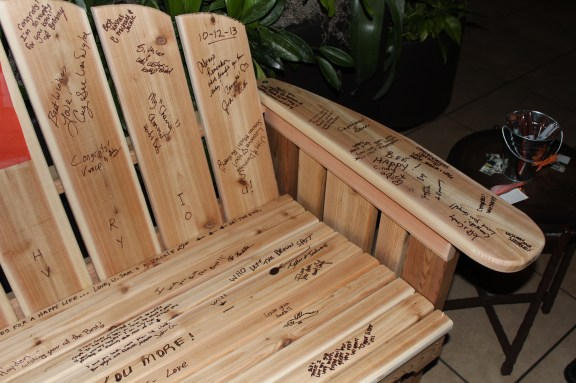 Signature glider bench at the Cantigny Park Wedding