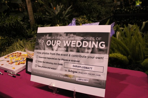 Using hashtags at the Garfield Park Conservatory Wedding