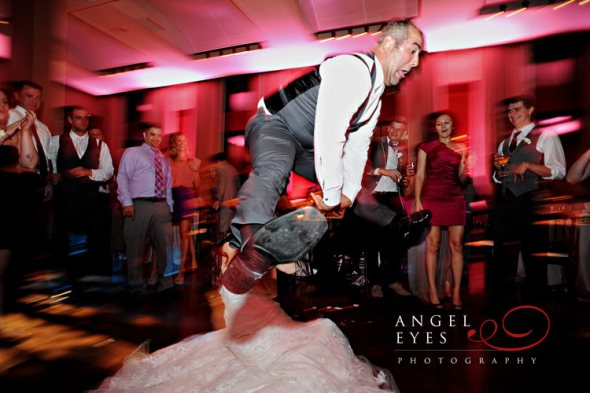 Groom dancing at Newberry Library Wedding