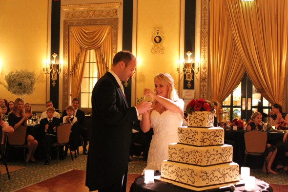 Cutting the Cake at the Palmer House Wedding