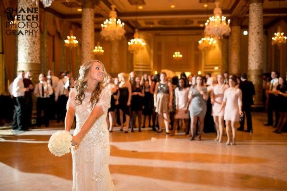 Bouquet Toss at a Drake Hotel Wedding