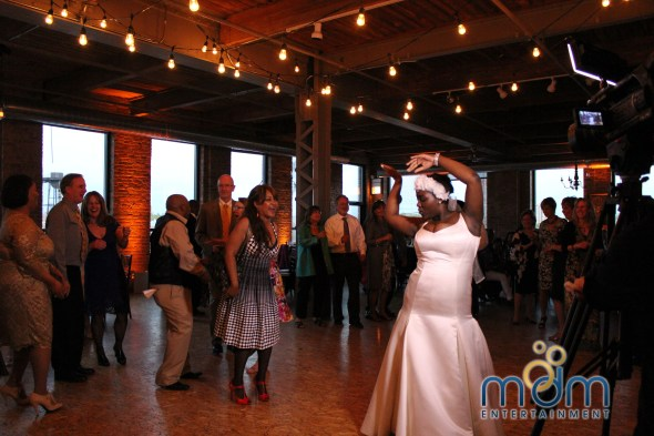 Bride Meagan Dancing at Kitchen Chicago and City View Lofts Wedding