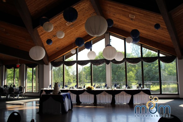 Navy Blue and White Paper Lanterns at White Pines Wedding