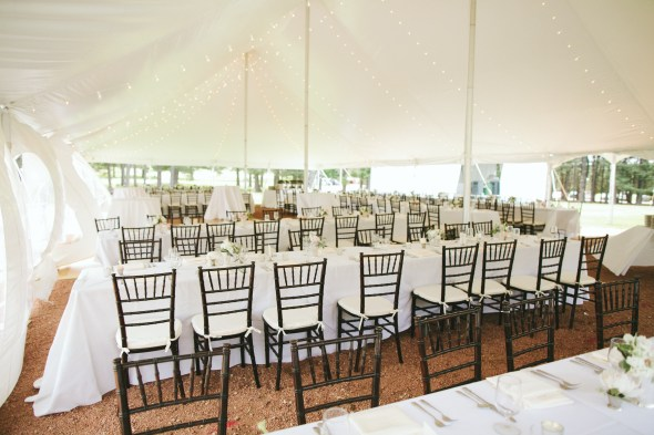Tent wedding string lights