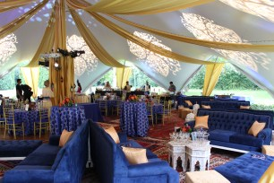 Drape and Lighting for a Wedding at Oscar Swan Pavillion