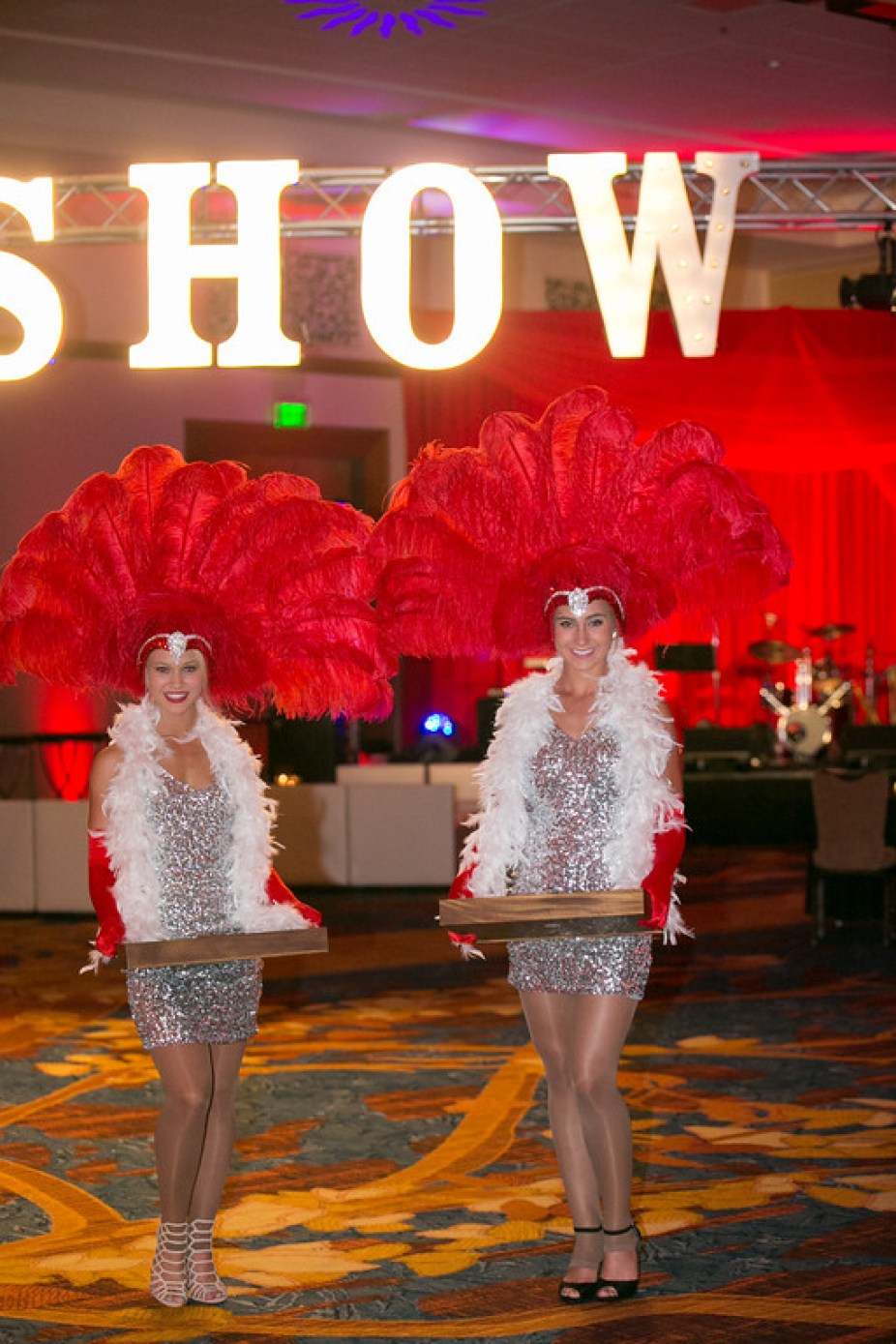 Marquee LIghts and Showgirls for a Vegas Themed Corporate Event