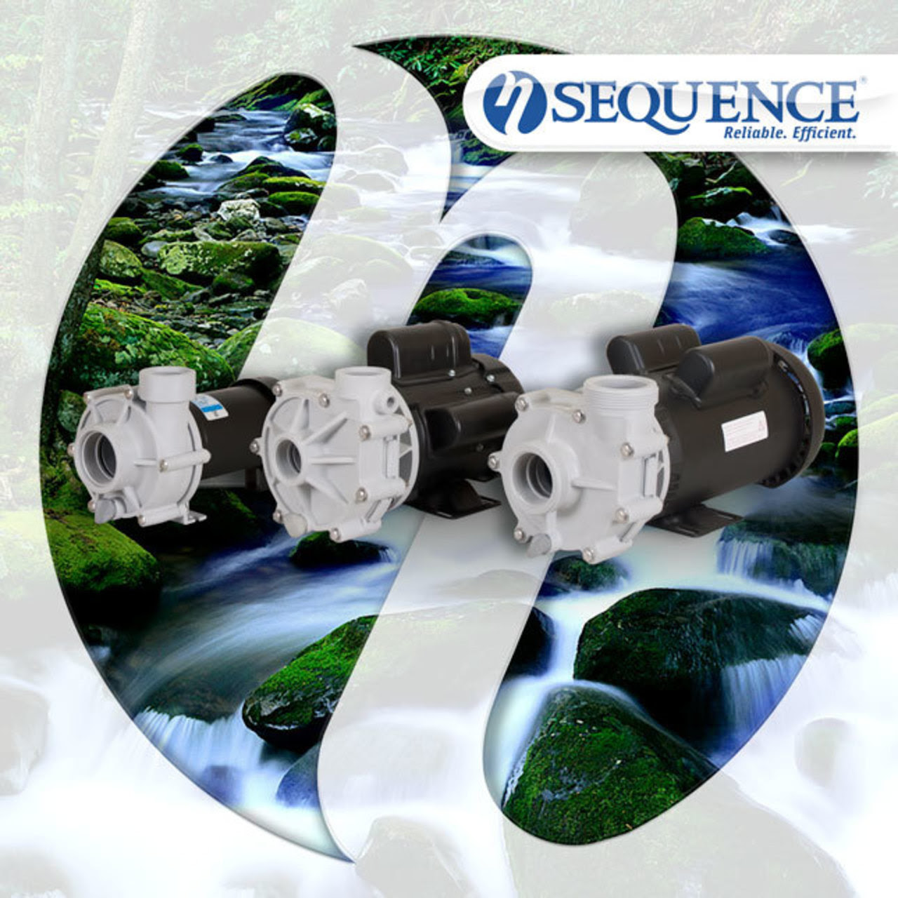 Sequence Pumps family with logo in background