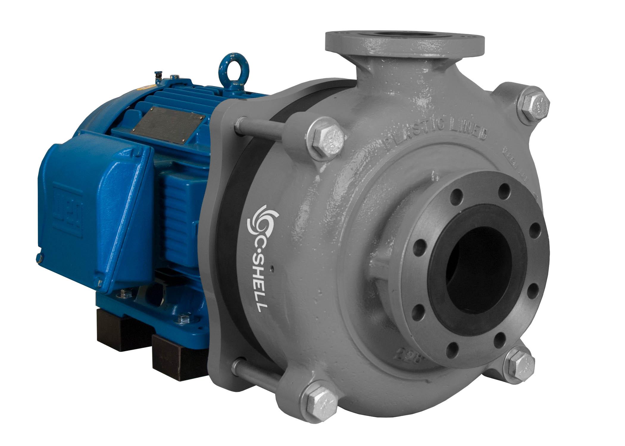 C-Shell 4x3-10 Pump with blue WEG Motor left angle view
