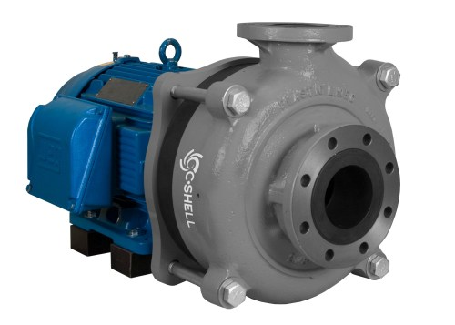 C-Shell 4x3-10 Pump with blue WEG Motor left angle view