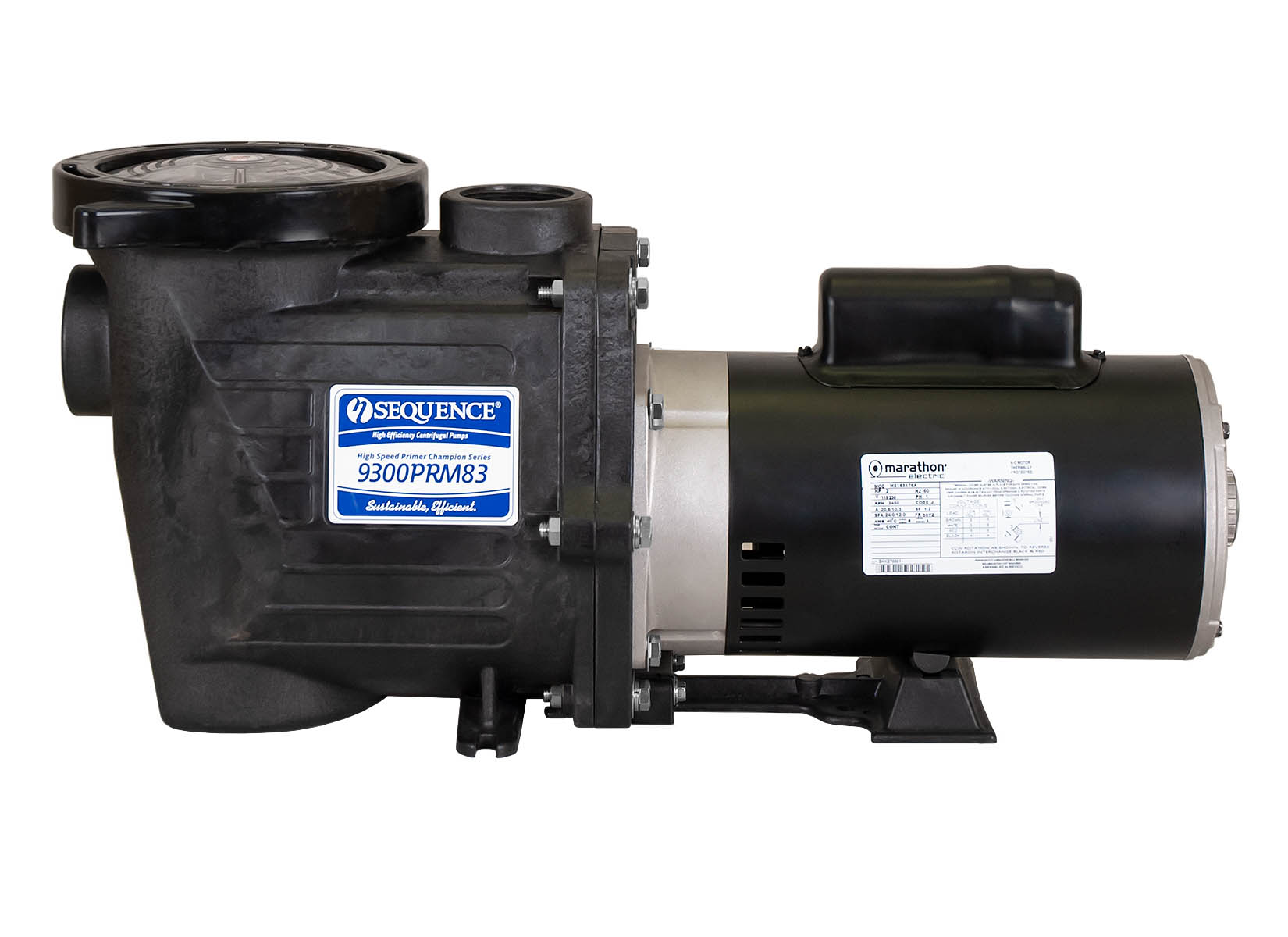Sequence Primer Power Pump with black Marathon Motor right side view