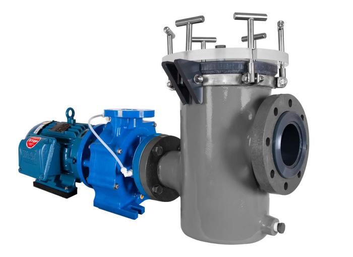 Genesys Pump with Fluidtrol basket strainer right angle view