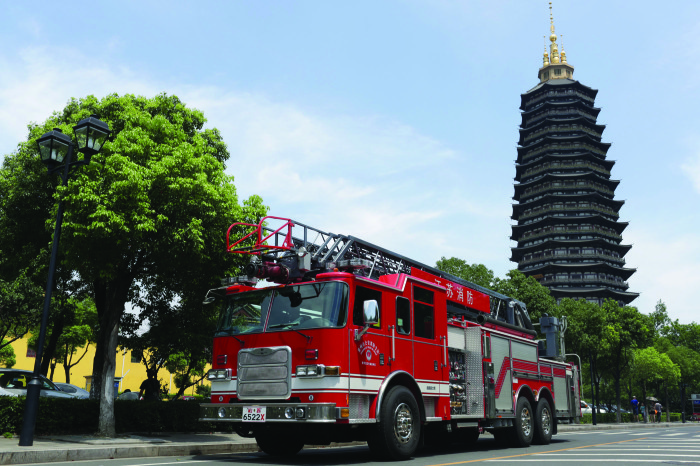 This Pierce Aerial Ladder vehicle is on duty in Changzhou, China