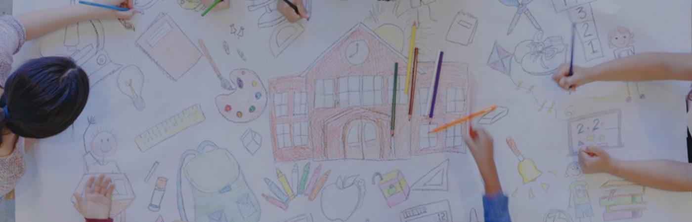 School children drawing