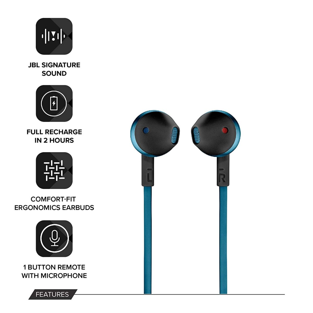 JBL T205BT Wireless Earbud Headphones(Blue)