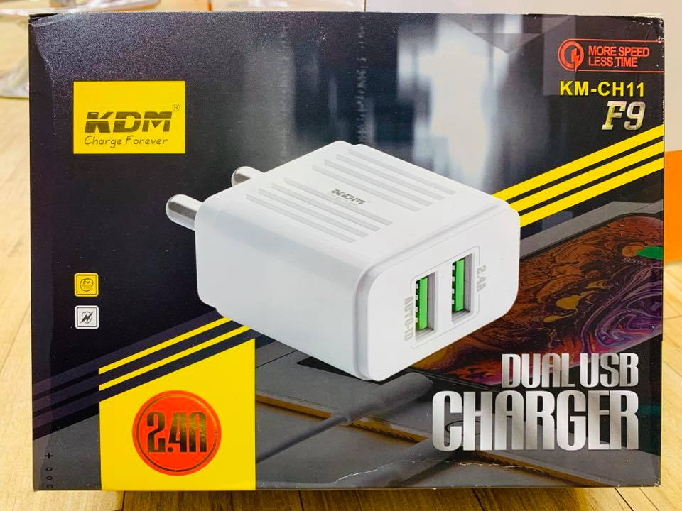KDM F9 Duble USB 2.4 Amp Charger (KM-CH11)