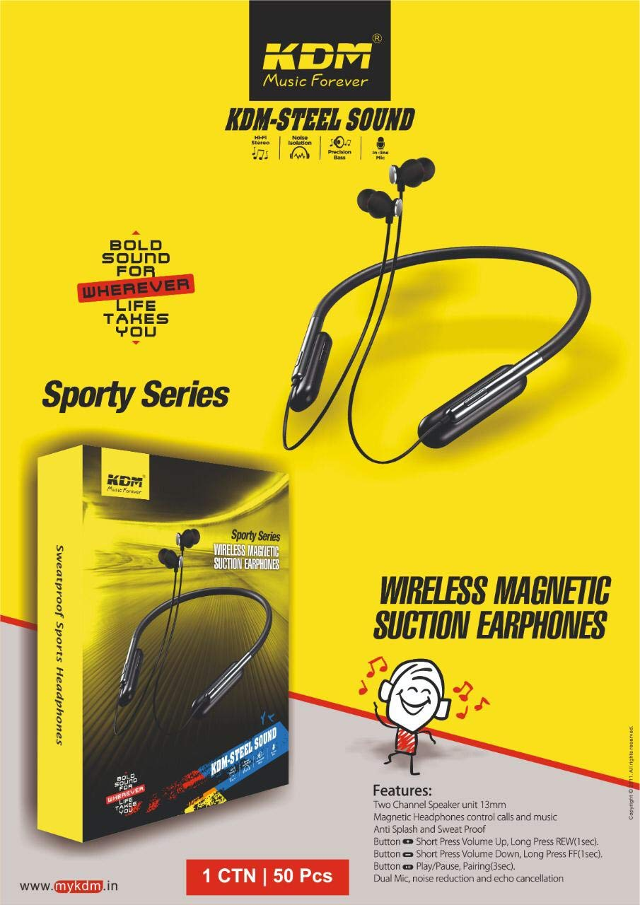 KDM steel sound wireless magnetic suction bluetooth earphones
