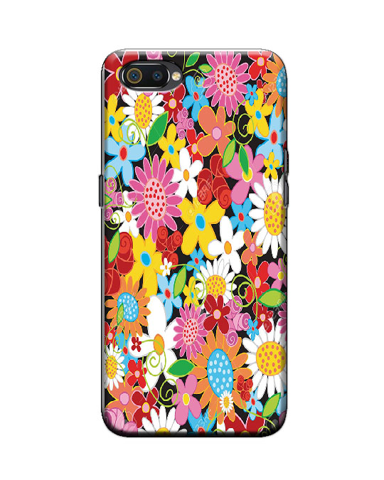 Realme C2 back cover (colour flowers)