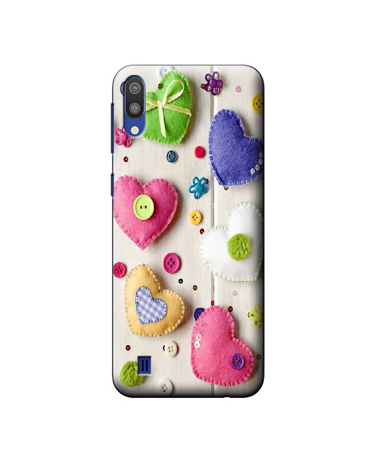 samsung m10 mobile back cover (Love Hearts)
