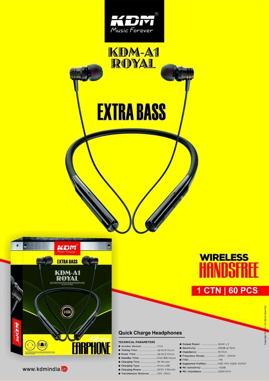 KDM A1 Royal Bluetooth headset Neckband Extra Bass (Black)