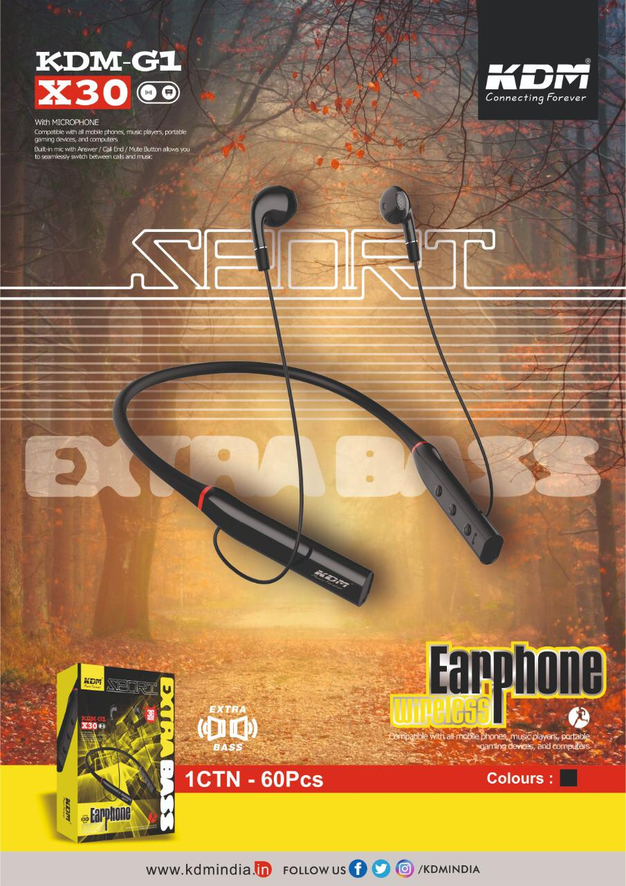 KDM G1 X30 sport wireless earphone neckband extra bass (black)