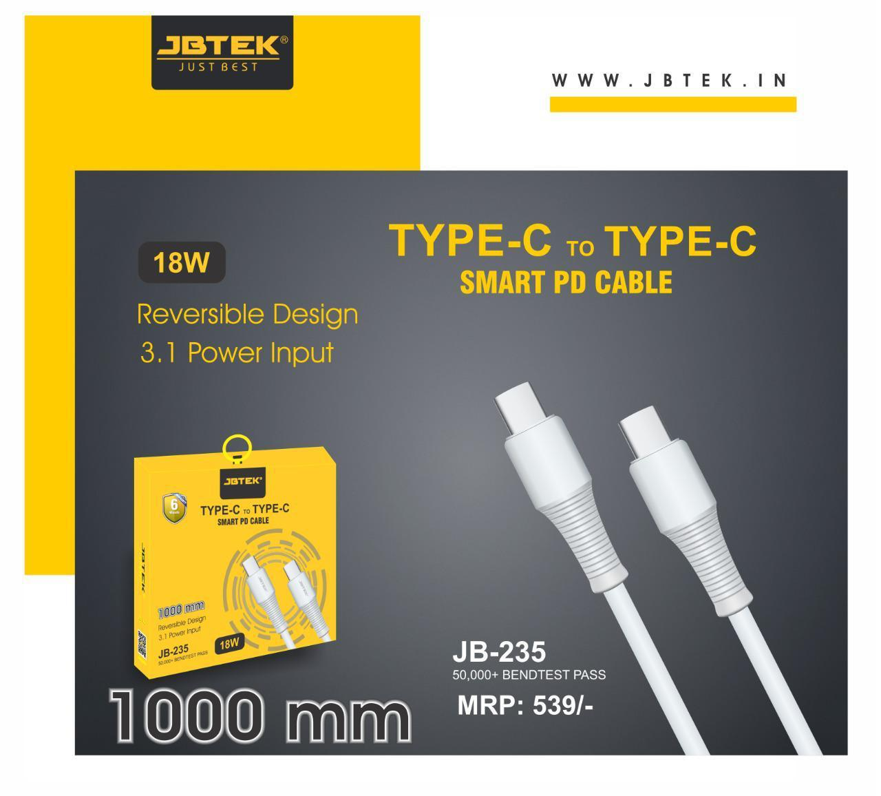 Jbtek Type-C To Type-C Cable 3.1 Amp Fast charging (18W)