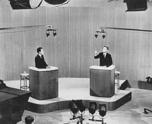 John F Kennedy and Richard Nixon debate on television in 1960.