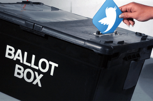 The Twitter logo is posted into a ballot pox