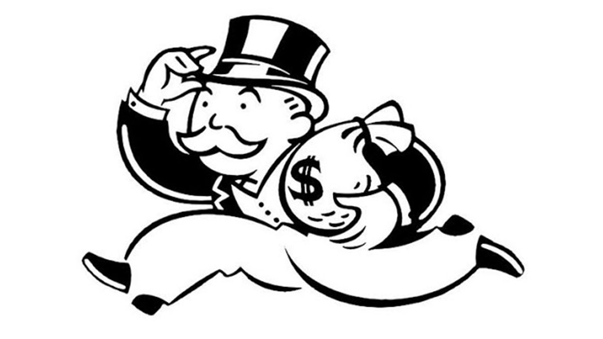 A drawing of the Monopoly man logo