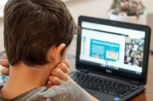 Little boy viewed from the back as he looks at a laptop set up in front of him