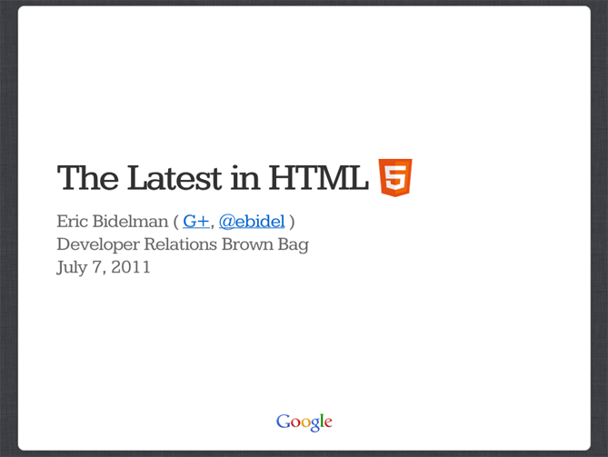 Latest in HTML 5