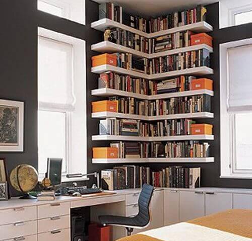 28 γωνιακές βιβλιοθήκες και ράφια