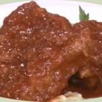 Κρέας κοκκινιστό με πουρέ μελιτζάνες