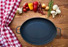 cast iron skillet on table with species