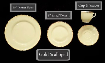 Tableware Rentals - Scalloped Gold Rimmed Plates