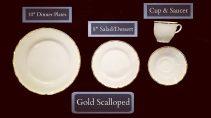 Gold Scalloped Dinnerware